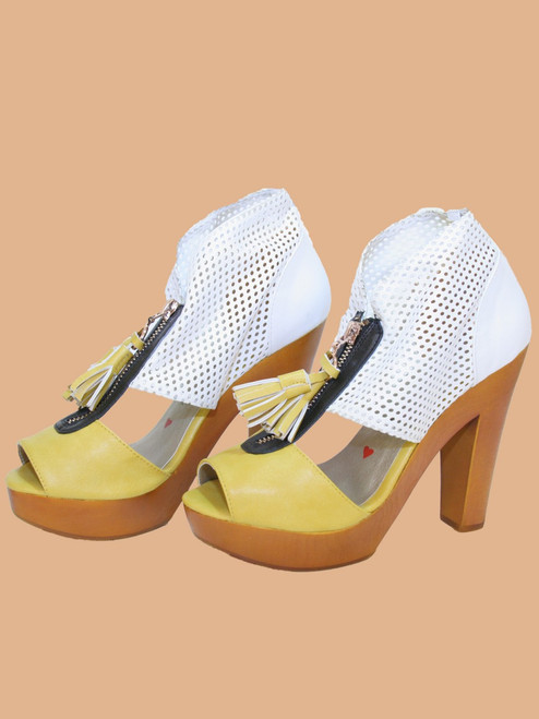 Summer Perforated Zip Platform Sandals - Vegan Leather