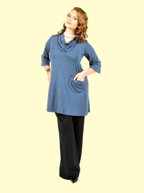 Women's Plus Size I Want It Longer Indigo Tunic Dress - Bamboo Viscose