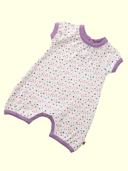 Spotty Rainbow Pink Short Sleeve Playsuit . Organic Cotton - Fair Trade