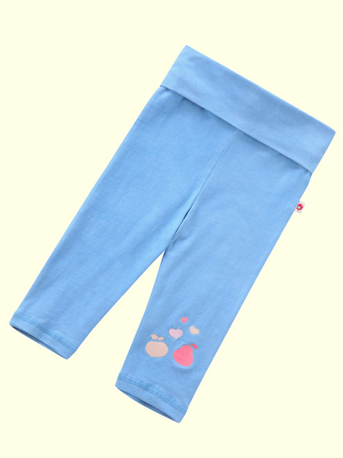 Festival Blue 3/4 Length Yoga Leggings . Organic Cotton - Fair Trade