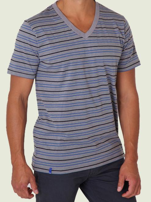 Men's Gravel Stripe V-Neck Tee - 60% organic cotton/40% modal