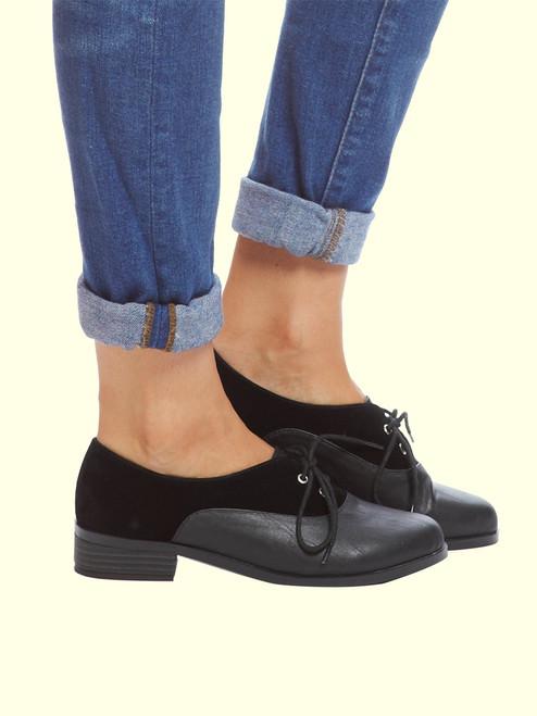 Drew Black Velvet Oxford Shoes