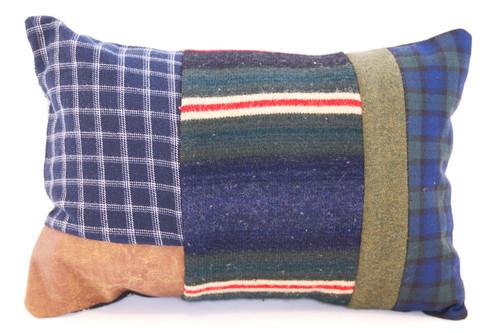 Cowboy Stripes Pillow - Recycled Vintage Fabrics