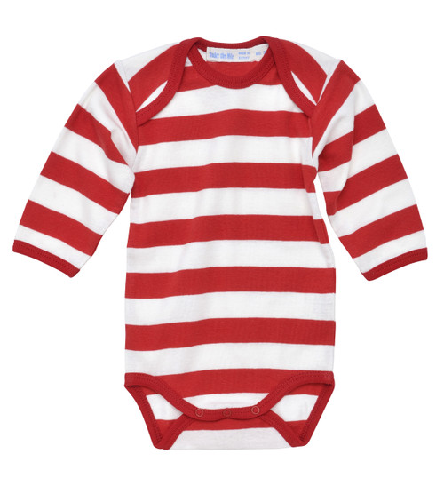 Rugby Stripe Long Sleeve Onesie. Organic Cotton - Fair Tade