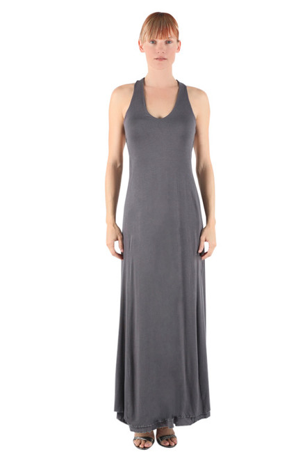 Charcoal Color Chi-Chi Maxi Dress in Modal