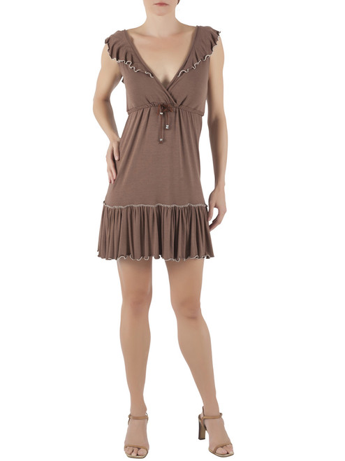 Mocha Color Scarlette Modal Mini Dress