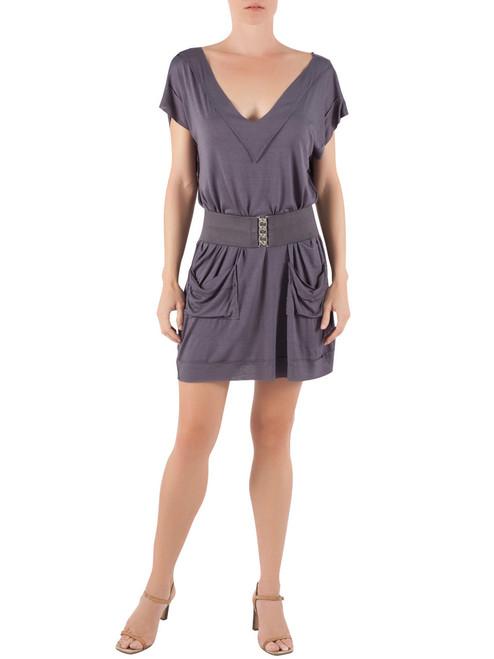 Deep-V Modal Mini Dress in Charcoal
