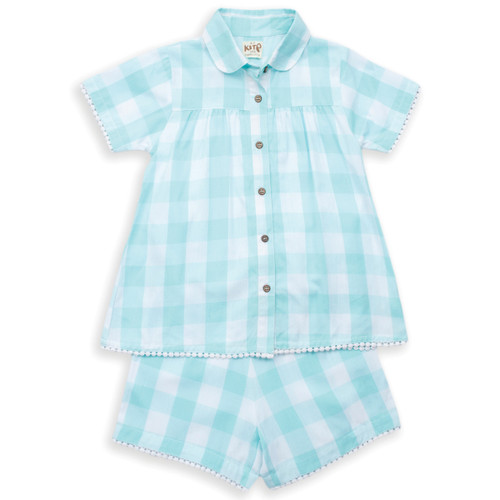 Organic Cotton Girl's Pretty Check Shortie Pajamas - Fair Trade