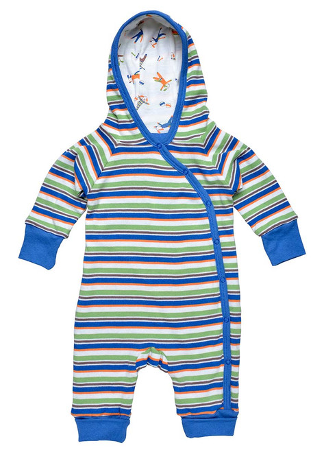 Blue Organic Cotton Baby Lined Hooded Romper
