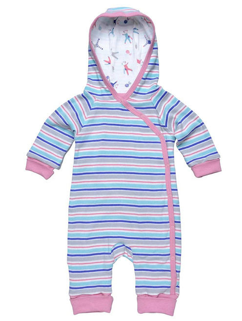 Pink Organic Cotton Baby Lined Hooded Romper
