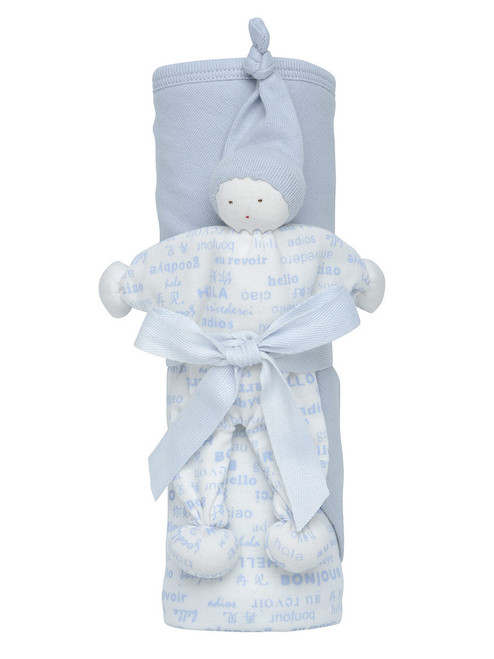 Blue Organic Cotton Hooded Blanket Gift Set