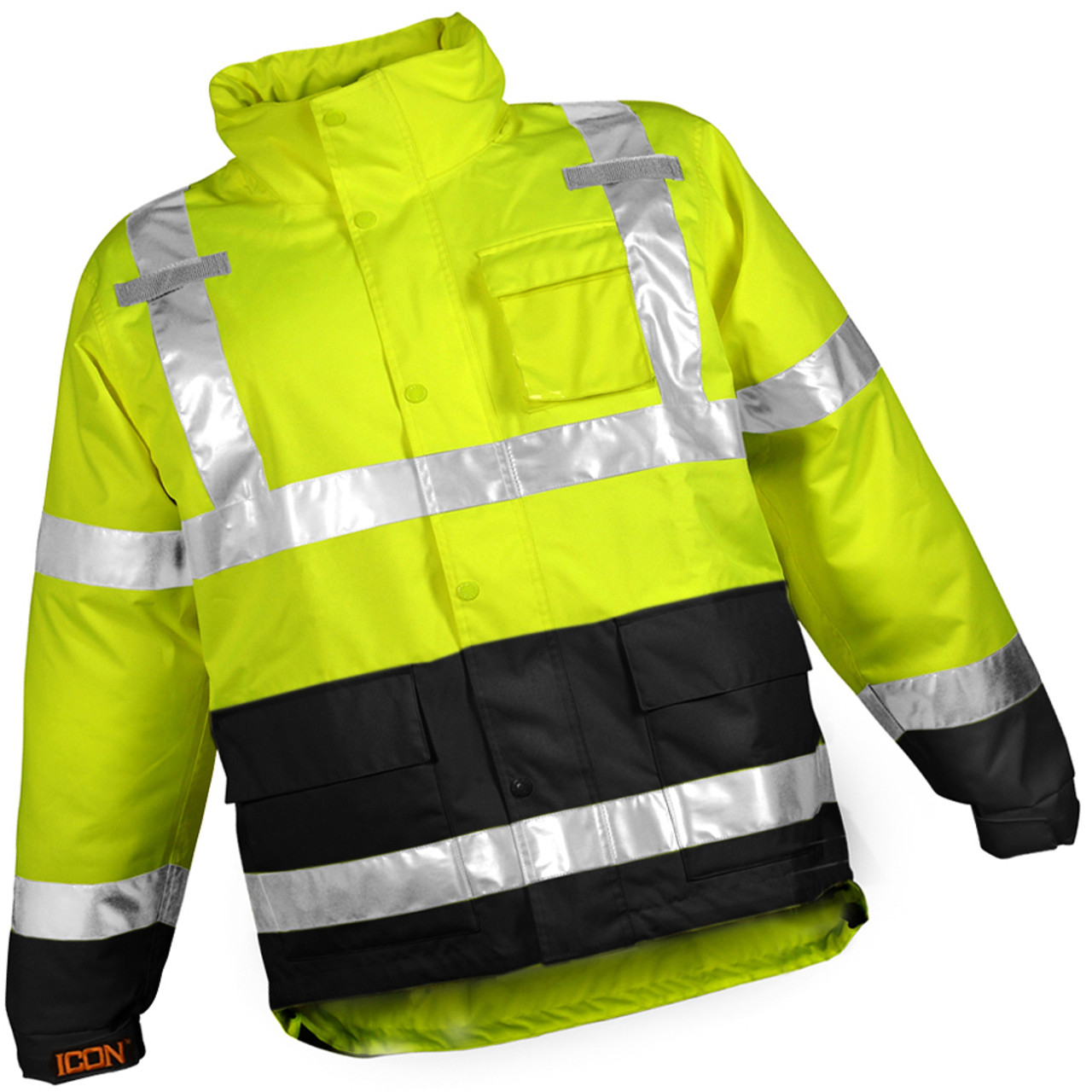 Icon™ Jacket -Fluorescent Yellow-Green-Black - Attached Hood - Silver  Reflective
