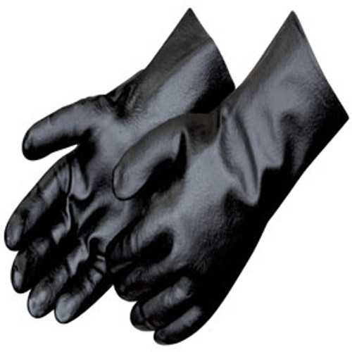 "Black PVC Smooth Finish Gloves w/12"" Gauntlet"
