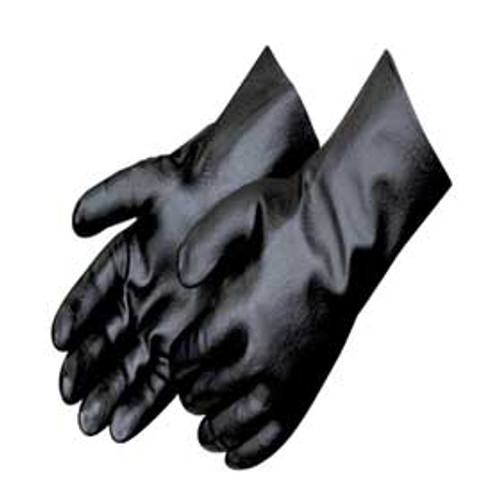 "Black PVC Smooth Finish Gloves w/18"" Gauntlet"