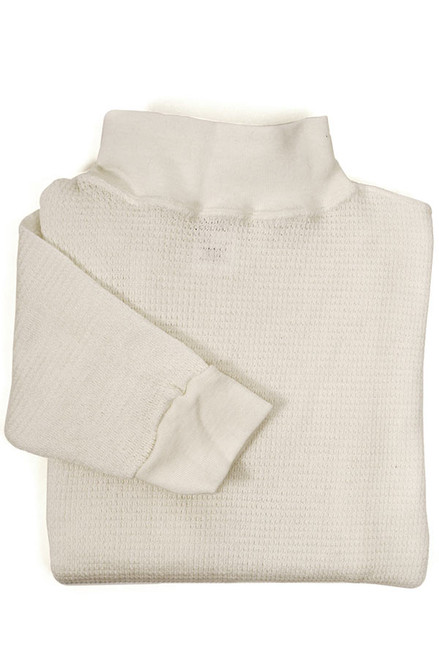 White Nomex Waffle Long Underwear - Mock Turtleneck Top