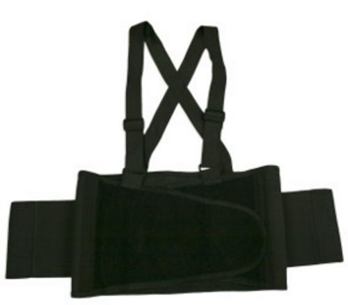 Back Support Belt, Black, Attached Suspenders