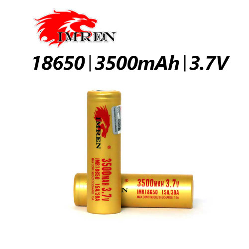 18650 - 3500 MAH - 30A -  3.7Av |  Hi-Drain Recharchable Battery | Imren