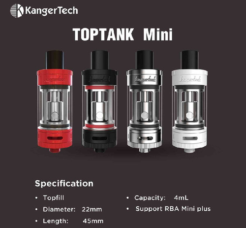 TOPTANK MINI (TOPBOX TANK) STAINLESS, BLACK, WHITE, AND RED GENUINE  AUTHENTIC KANGERTECH