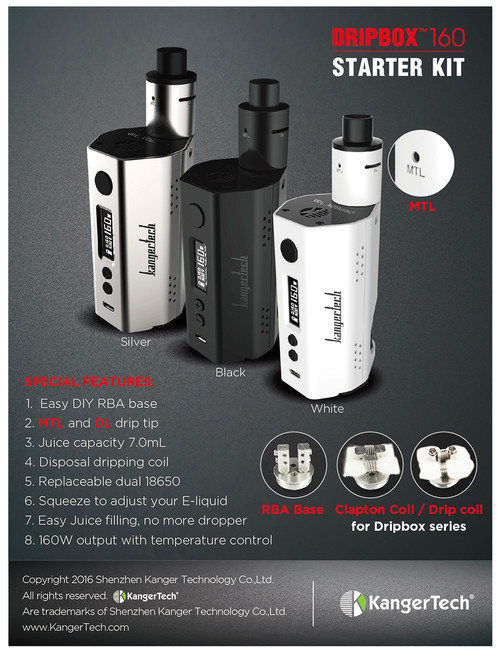 KANGER DRIPBOX 160W TC STARTER KIT ONLY $48.99 FREE SHIPPING