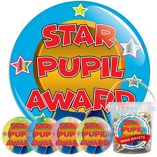 Pack of School Star Pupil Award Badges - Badge Bucket