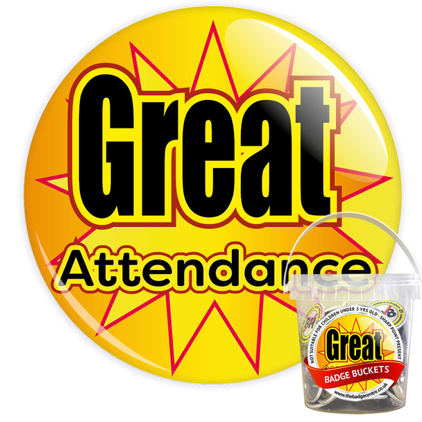 Pack of Yellow Great School Attendance Badges - Badge Bucket