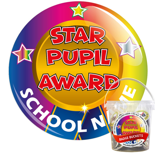 Pack of Custom Star Pupil Award Badges - Badge Bucket