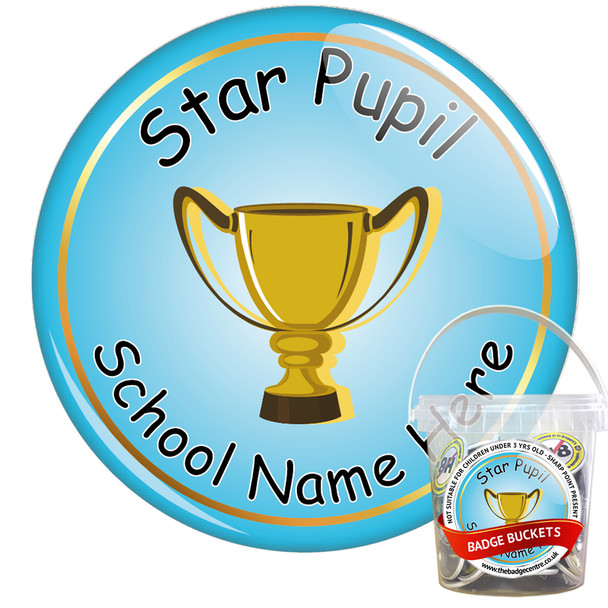 Pack of Custom Star Pupil Award Badges - Badge Bucket 1