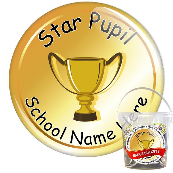 Pack of Custom Star Pupil Award Badge Bucket (75 or 200 Badge Pack) 2