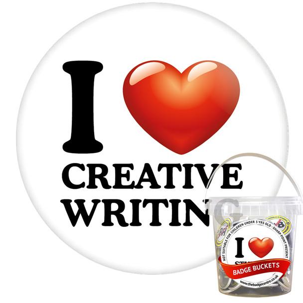 Pack of I Love Creative Writing Badges - Badge Bucket