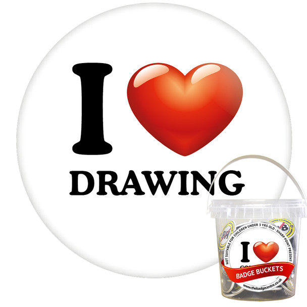 Pack of I Love Drawing Badges - Badge Bucket