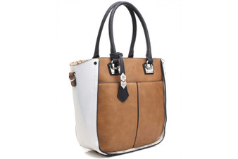 Bessie London Contrast Panel Tote Bag (BB2845-BROWN)