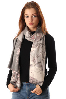 Abstract Forest Print Scarf - Light Grey (2593LG)