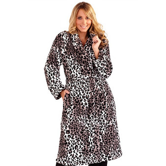 Grey Animal Print Hooded Robe