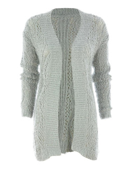 Wave Eyelash Edge to Edge Cardigan in Grey