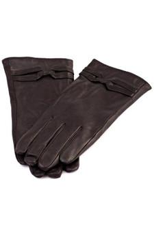 Black Leather Strap Detail Gloves