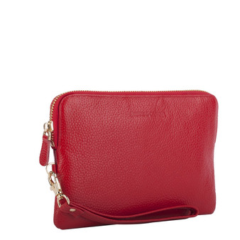 Mighty Charging Leather Power Clutch Bag Purse - Red