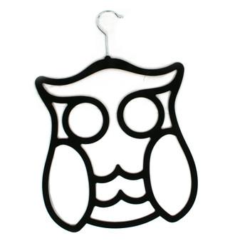 Flocked Owl Hanger - Black