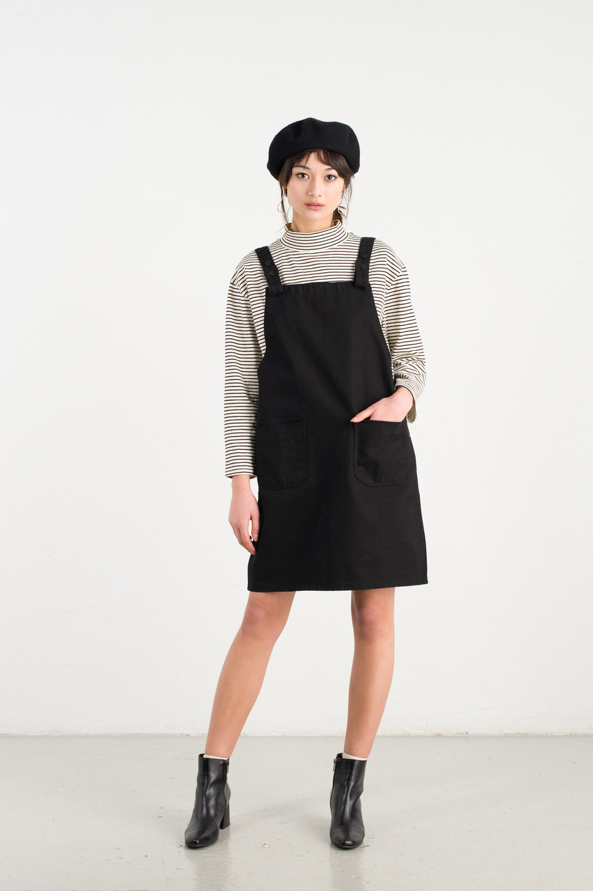 apron dress black