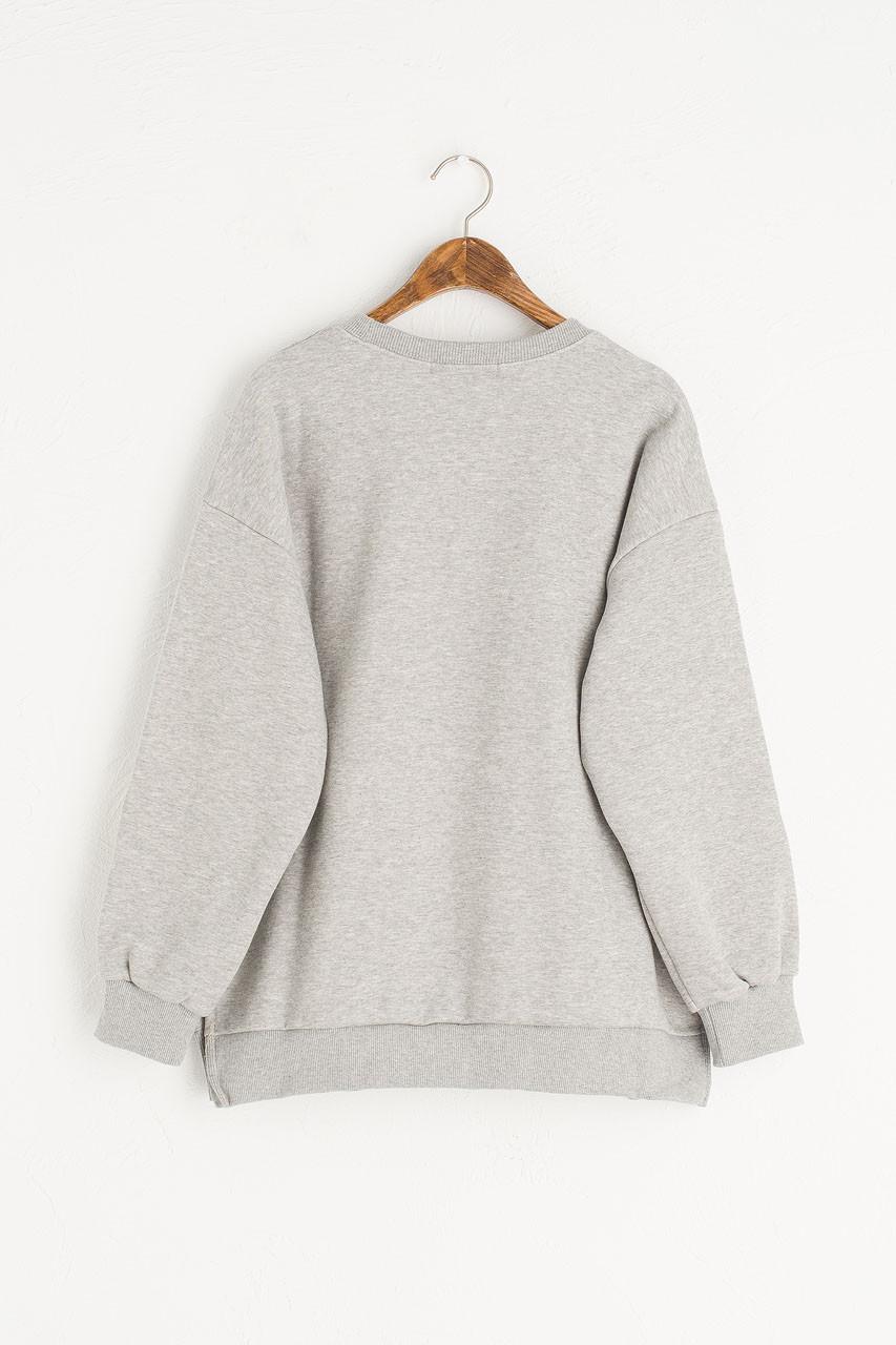 Flower Embroidered Sleeve Sweatshirt, Grey