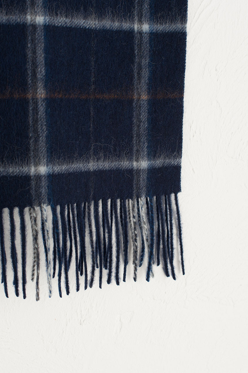 Wide Check Wool Scarf, Navy