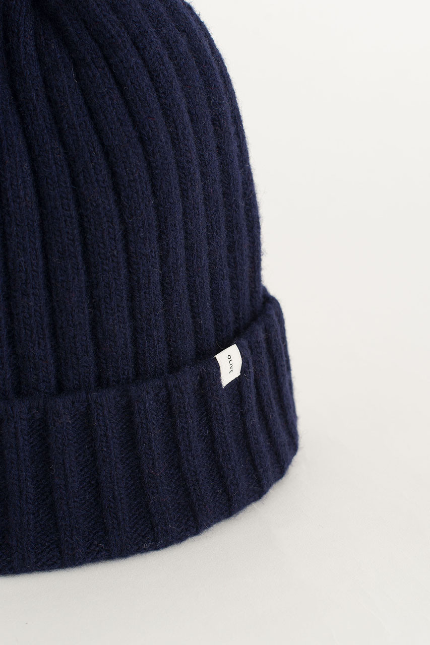 Ribbed Wool Benie, Navy