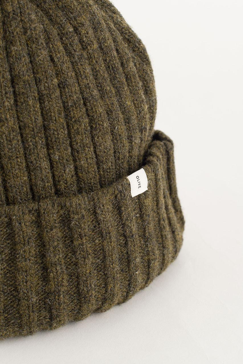 Ribbed Wool Benie, Kahki