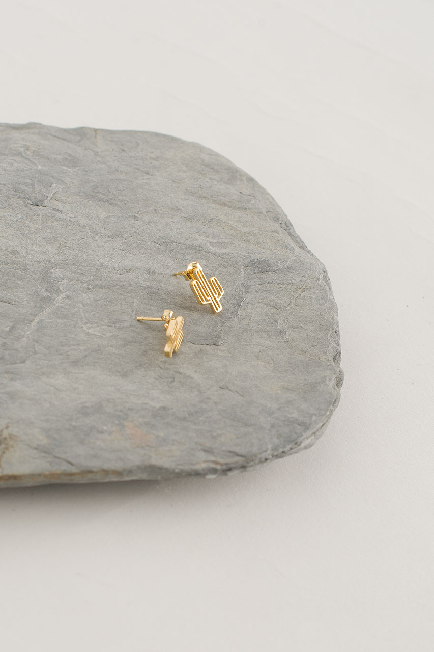 Cactus Stud, Gold Plated