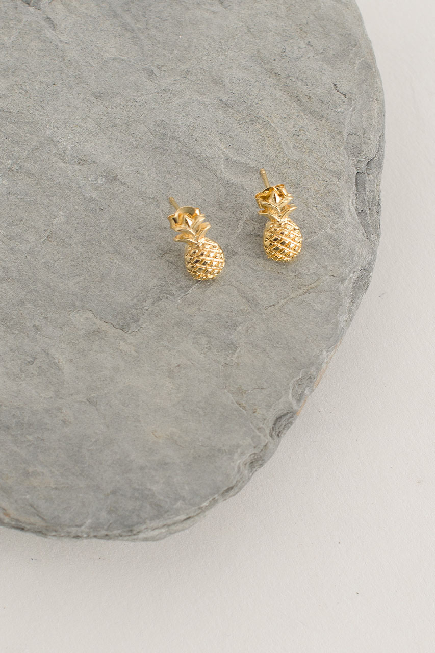 Pineapple Stud, Gold Plated