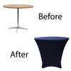 36 x 30 inch Lowboy Cocktail Round Stretch Spandex Table Cover Navy Blue, Wholesale