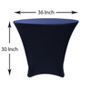 36 x 30 inch Lowboy Cocktail Round Stretch Spandex Table Cover Navy Blue for Events, Parties, Weddings