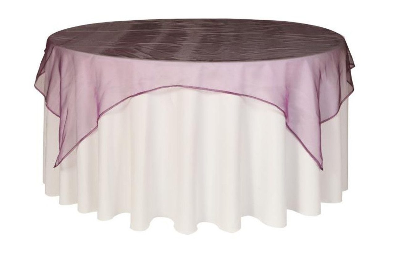 72 Inch Square Organza Table Overlays Eggplant