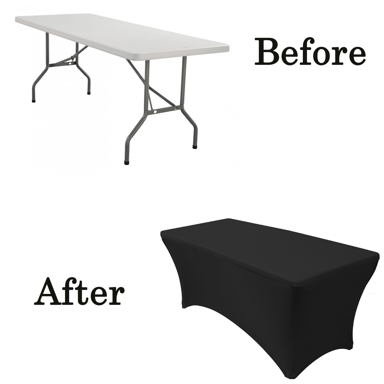 Attirant Black Rectangular Spandex Table Covers · Black Lifetime Folding Table Covers  ...