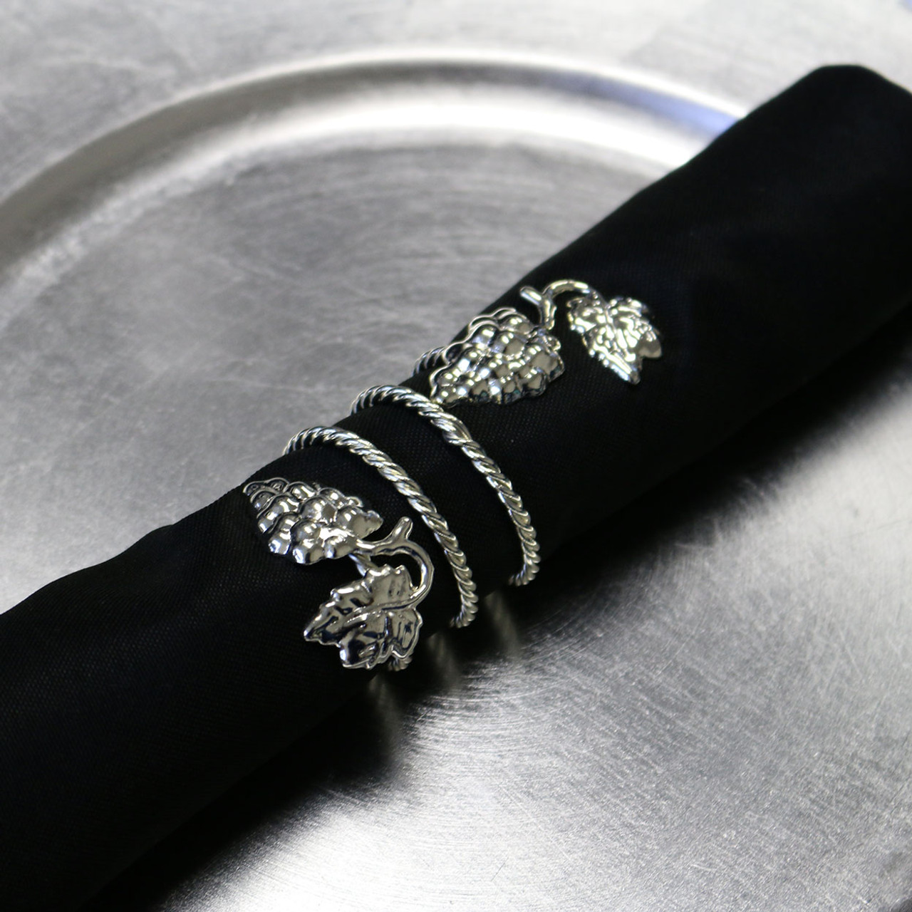 Grape Swirl Napkin Rings Silver Your Chair Covers Inc