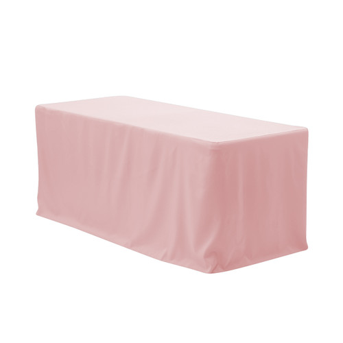 8 ft. Fitted Polyester Tablecloth Rectangular Blush